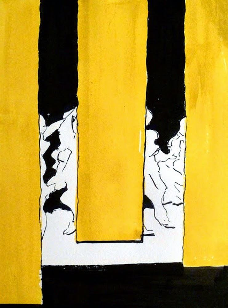 H. SCHLAGEN (1959) – behind the yellow curtain – Acrylic and ink on paper -2014