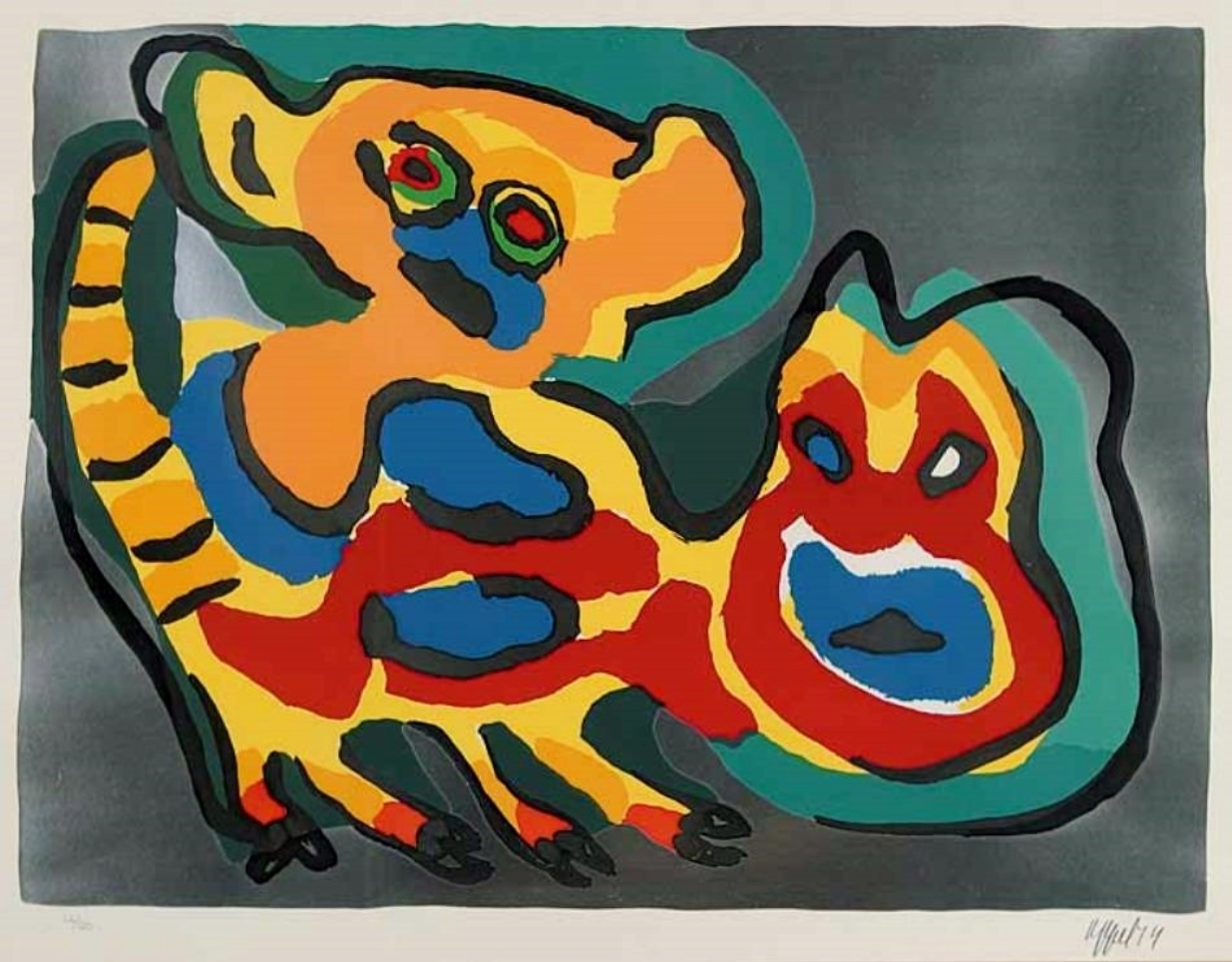 Karel APPEL (1921-2006) Lithography from 1974 – Come back pussycat with silver back ground – Copie