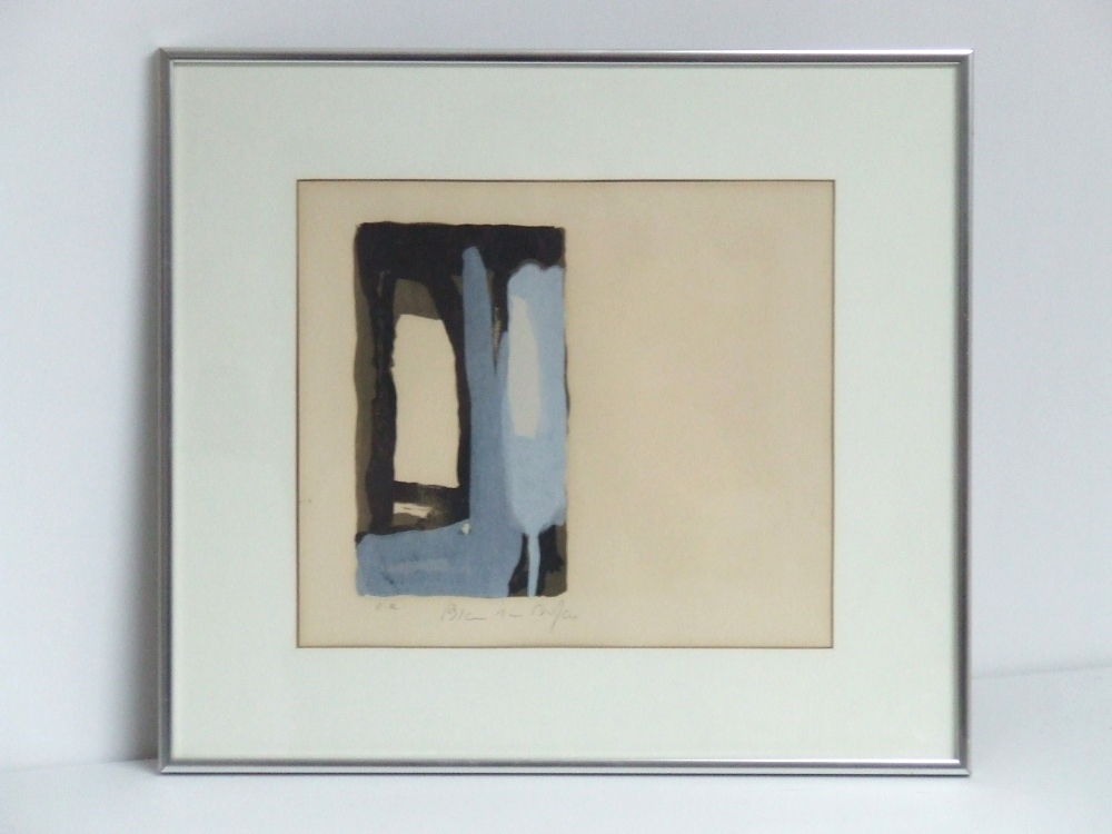 Bram Van VELDE (1895 -1981) Lithography on Arches – La folie du jour series Blue and Black composition, 1973 – With frame – YLA