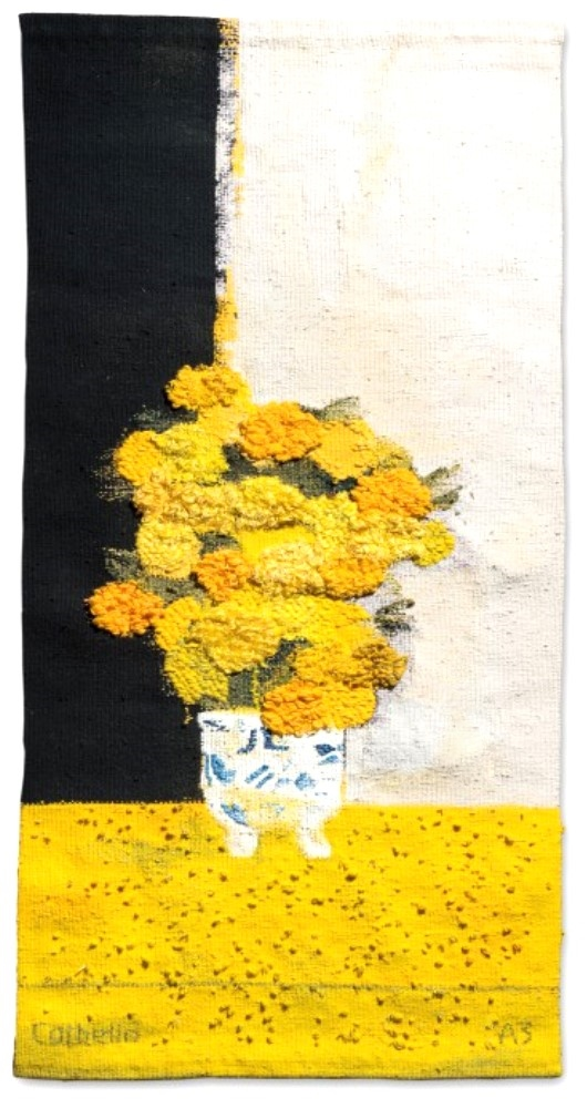 Tapestry titled: Bouquet of India roses in China vase and yellow table