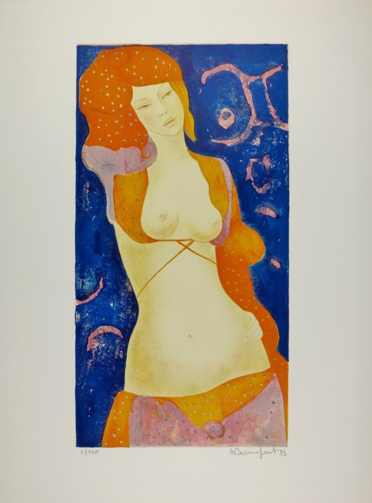 Nu orange dated 1973. (Orange nude)