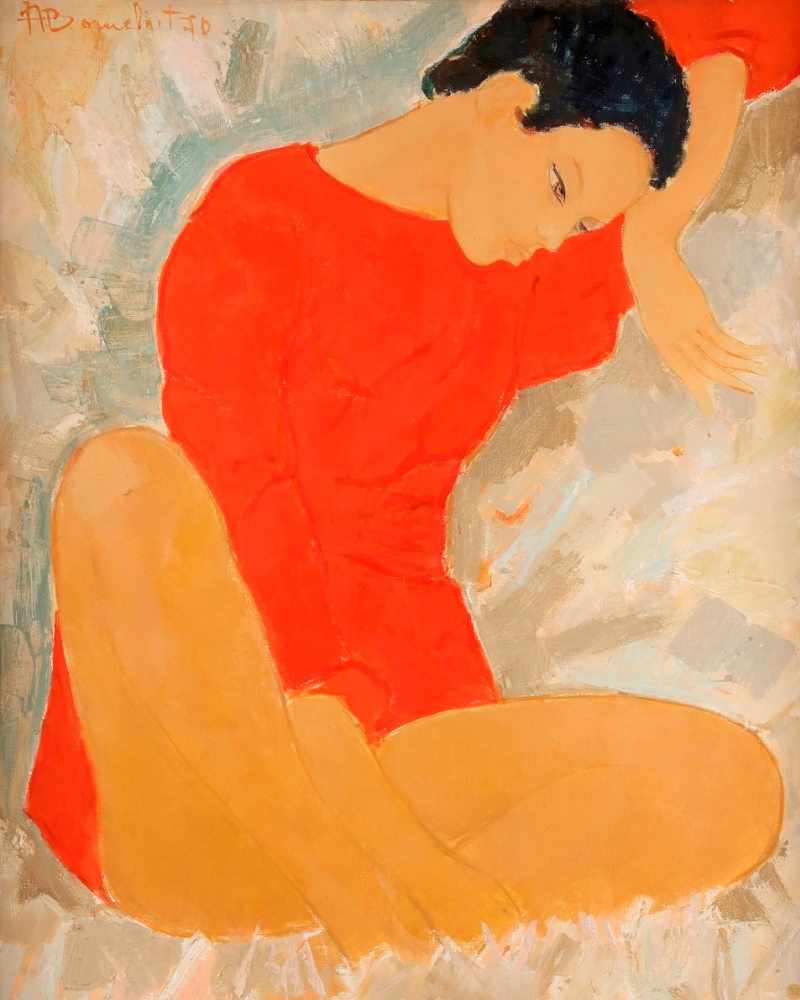 Seated woman dated 1970.