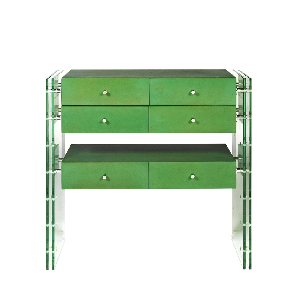 Console in green melamine with glass support base in Séristal