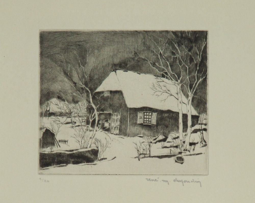 Flemish winter landscape with old farm, circa 1935-1939