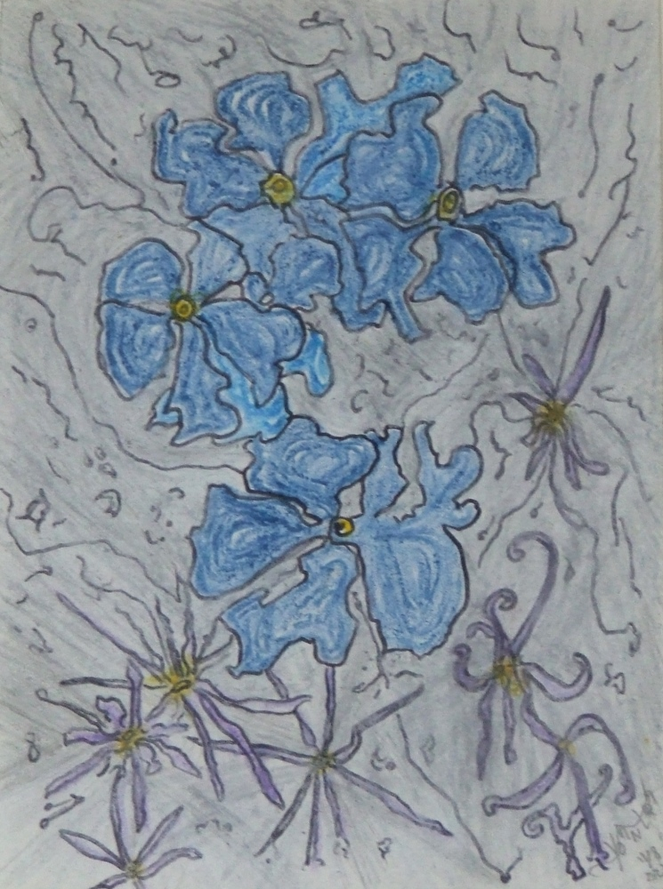Blue flowers in a silver sky dated 2021