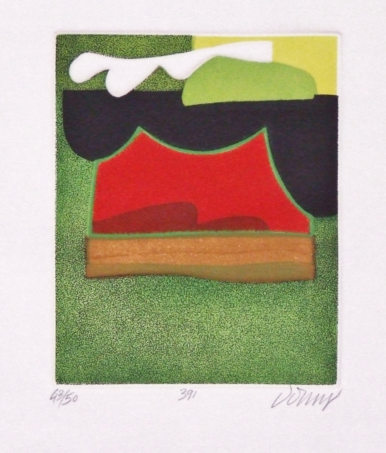 Embosssed colour etching (Aquatinte) titled 391 by Bertrand DORNY (1931) – 33.02 x 25.4 cm