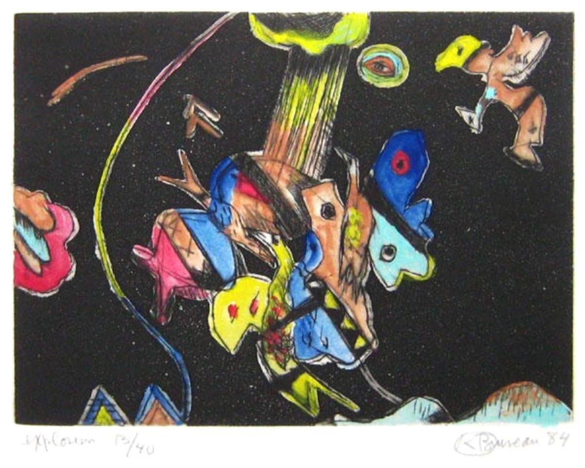 Kittie Bruneau – Aquatinte – de 1984 – Titrée Explosion – 25.5 x 30.5