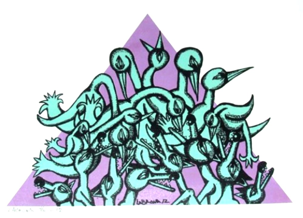 Lying in wait, purple and teals, 2012;