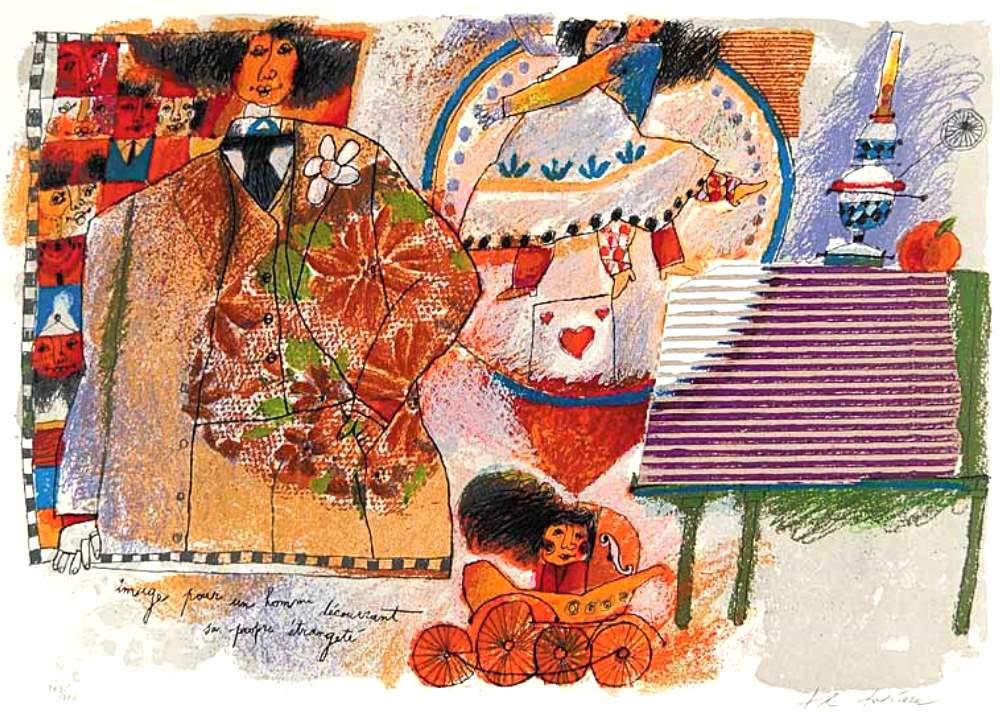 Théo TOBIASSE (1927 – 2012) – Lithography -Image pour un homme découvrant sa propre étrangeté