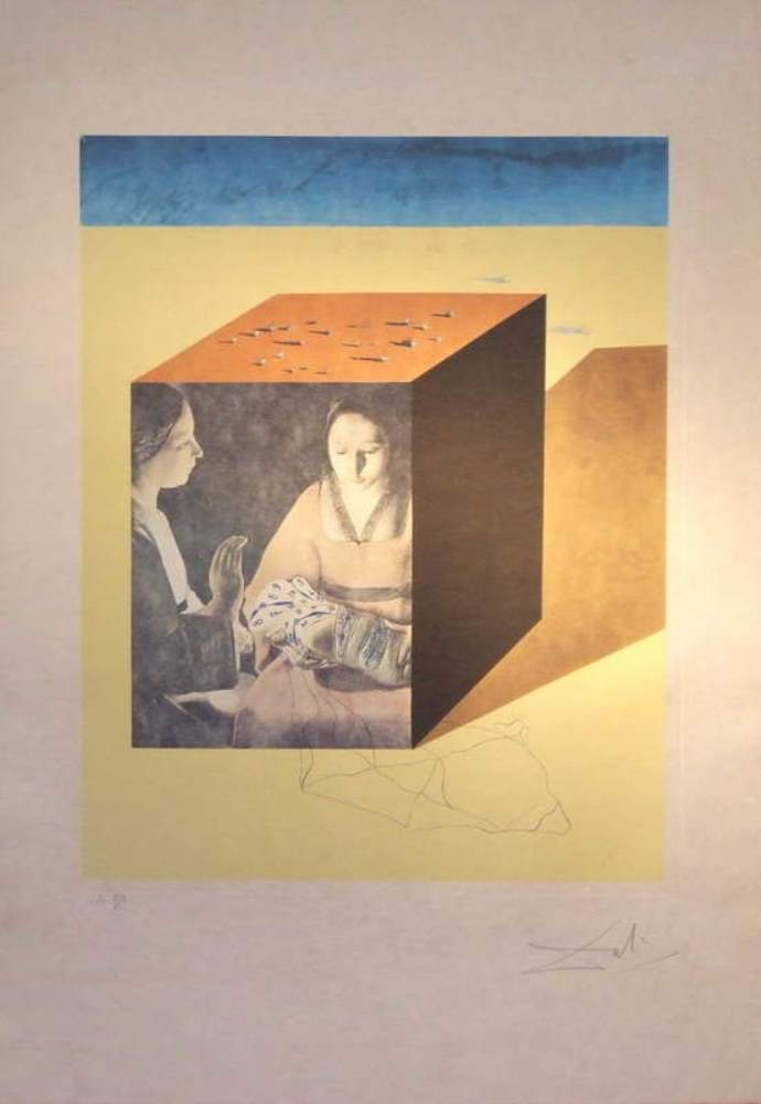 Salvador-DALI (1904 – 1989) Etching and lithography – Caring for a surrealistic watch, 1971