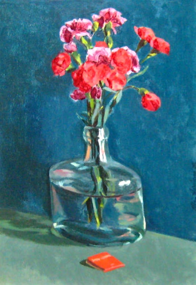 Allan HARRISON (1911 – 1988) Huile sur toile – Vase fleurs rouge , 1978