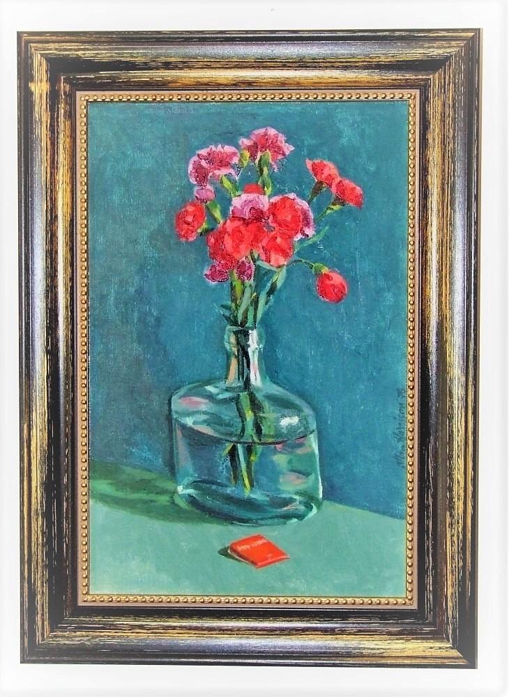Allan HARRISON (1911 – 1988) Huile sur toile – Vase fleurs rouge , 1978 – Cadre