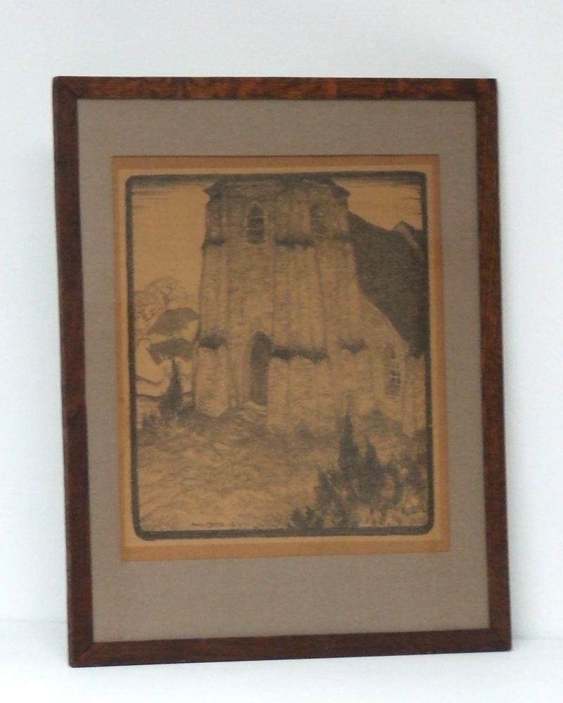 Anto CARTE (1889-1954) Lithographie en bistre – Eglise – 1918 – 52 x 41 cm – Avec cadre – YLA