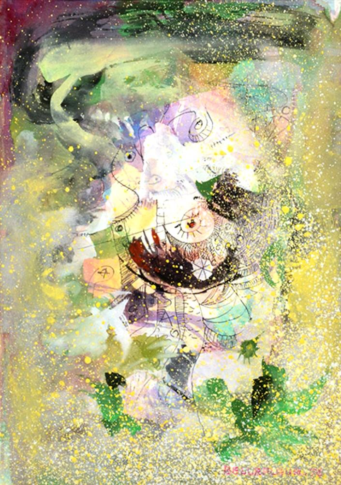 Léon BELLEFLEUR (1910 – 2007) – Watercolor Untitled 1976 – 32 x 23 cm