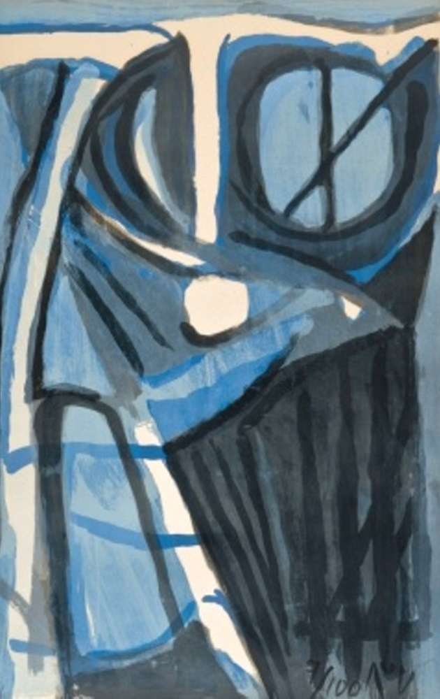 Untitled blue composition from 1975.
