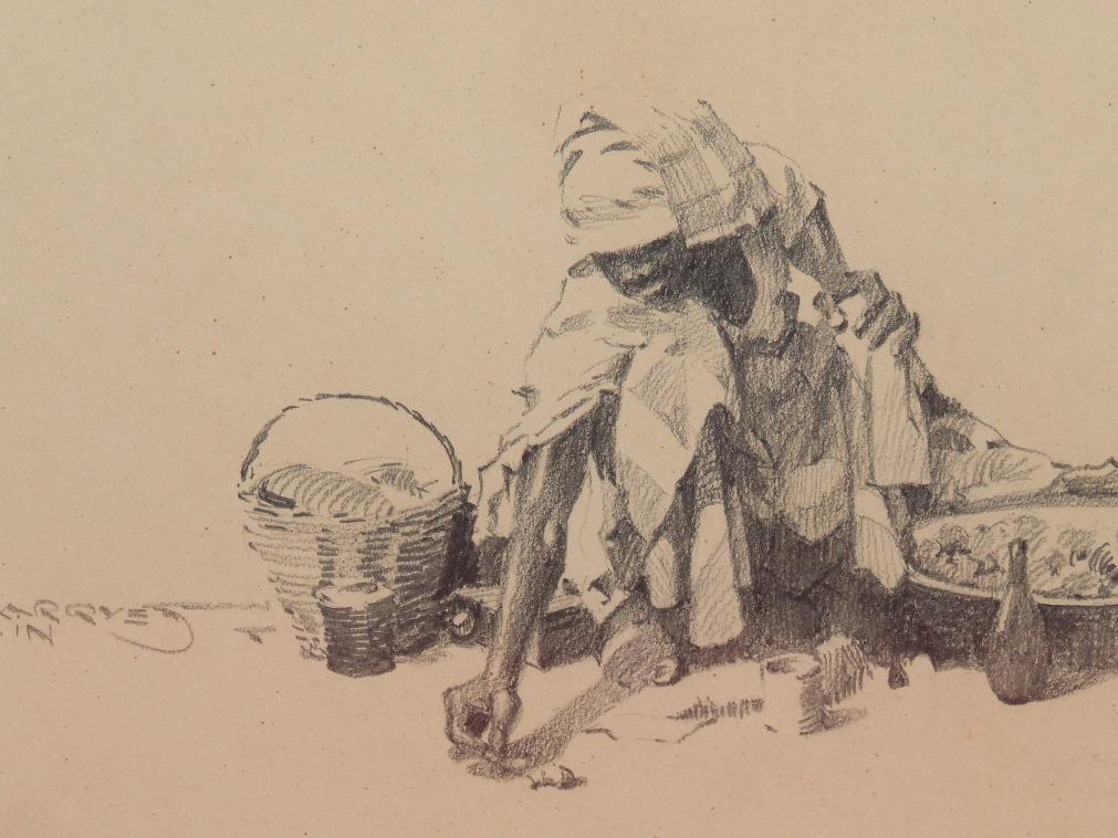 Guilherme MARQUES (1887-1960) Fusain -Une Africaine sur le marche, vers 1930