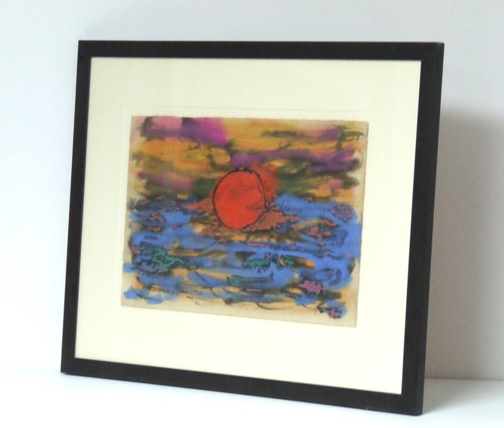 Paul-Vanier BEAULIEU (1910-1996) Warercolor on paper – Red sun, 1960 – Frame