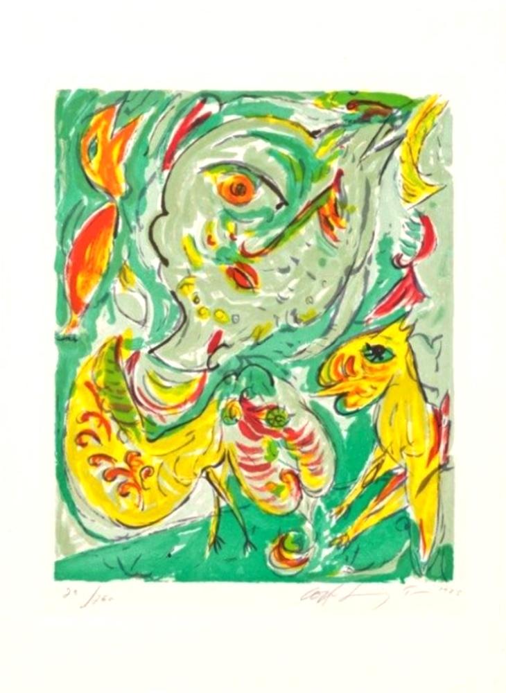 Figural mor og fugle dated 1985. (Figural Mother and birds)