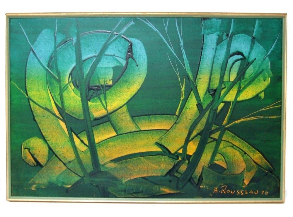 Albert ROUSSEAU (1908 – 1982) Acrylique sur toile – Paysage Fantastique – Avec cadre