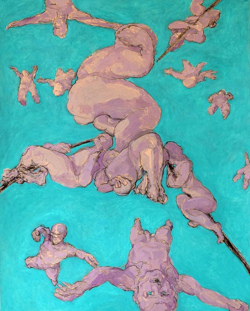 H SCHLAGEN (1959) Oil on cardboard – Körper, 2017