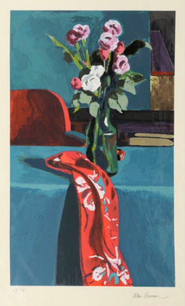 Still life with red scarf circa 1980