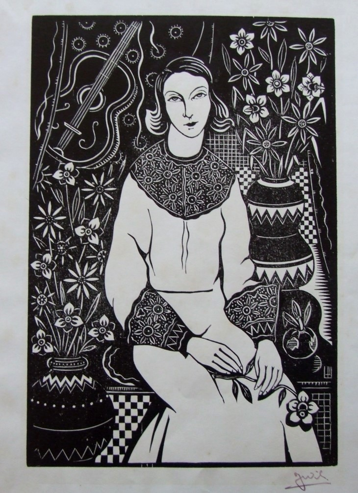 Dame – Gitaar en bloemen (Lady, guitar and flowers) made circa 1930-1939.