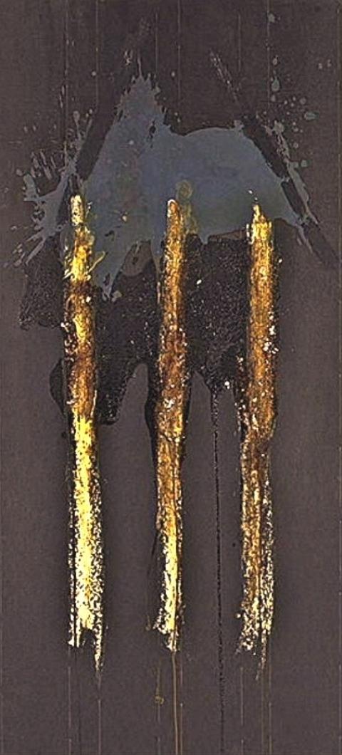 Erik DESPREZ (1951) Mixed Media – Bee wax, oil and varnish on black paper, 2008