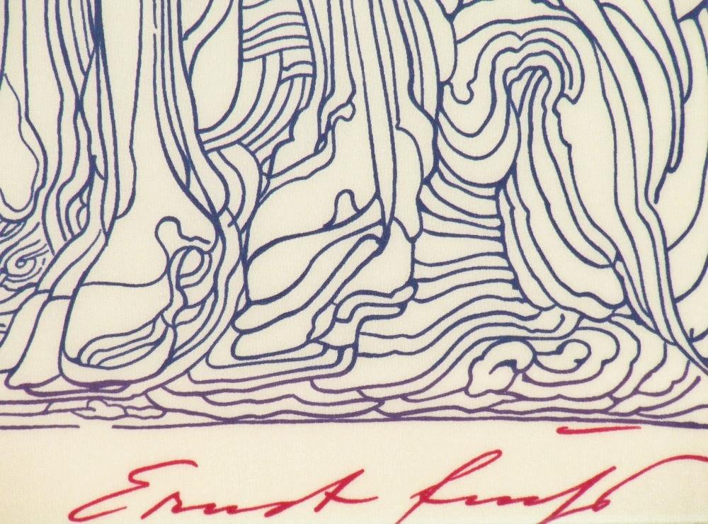 Ernst FUCHS (1930 – 2015) Lithography on silk – Nymph, 1984