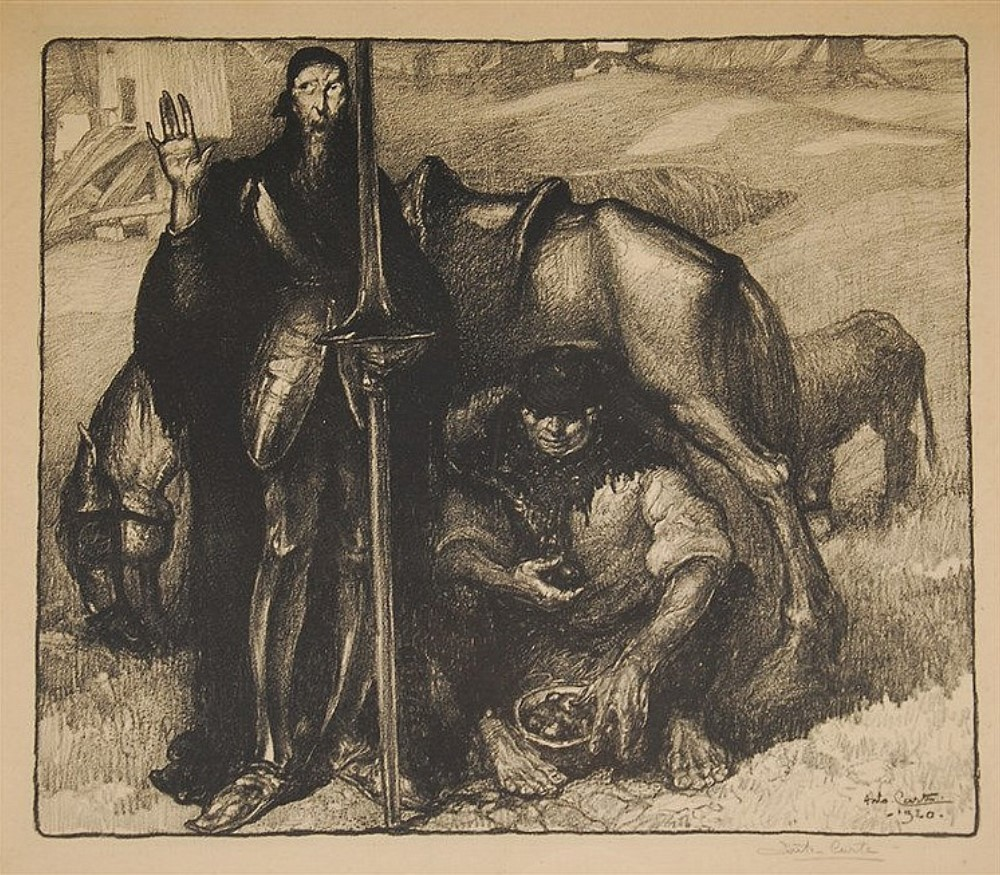 Don Quichotte &  Sancho Panza dated 1920