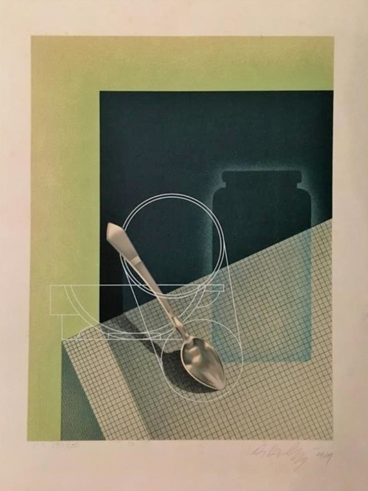 Still life with teaspoon dated 1939.