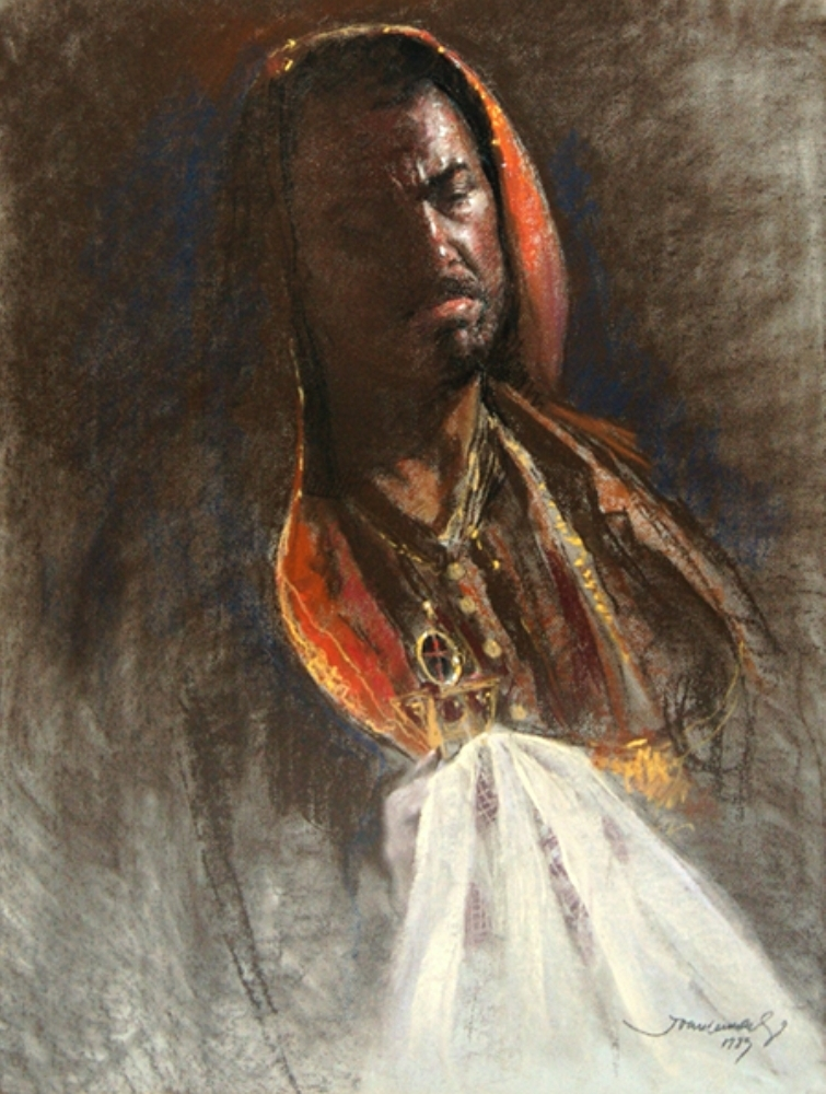 Portrait of Placido Domingo as Othello, dated 1989