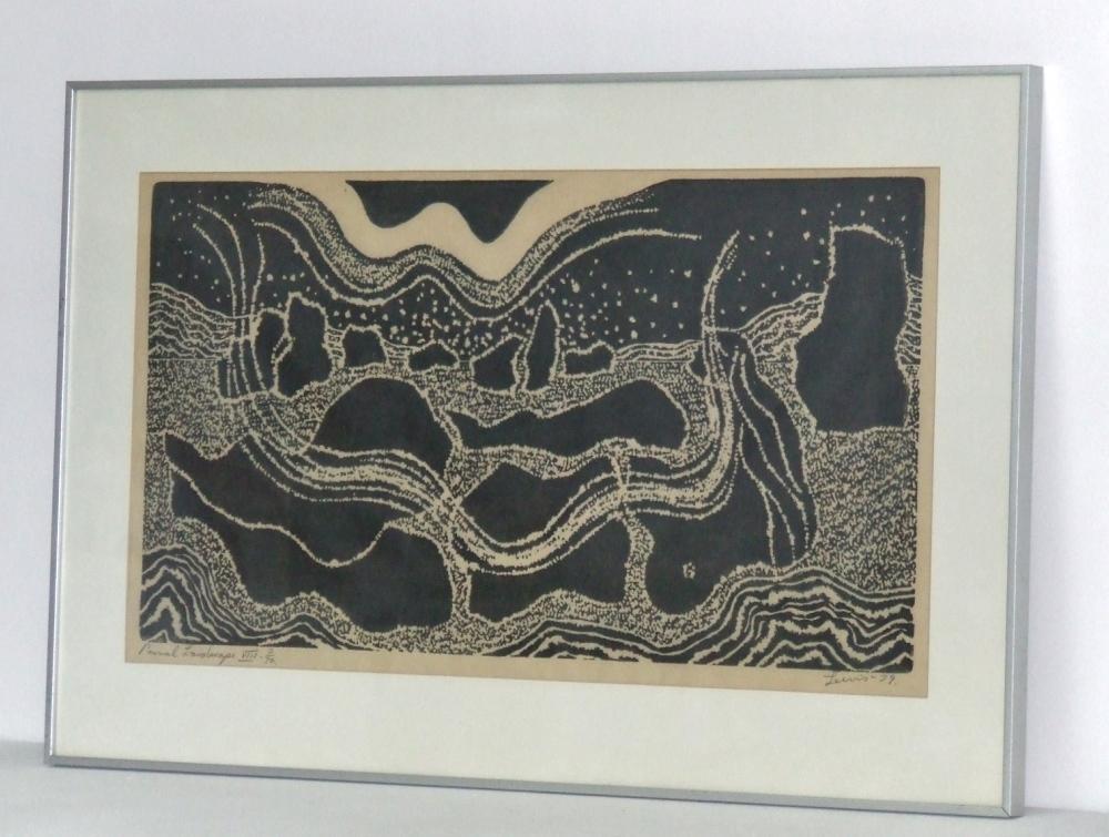 Primal Landscape VIII dated 1979. With frame
