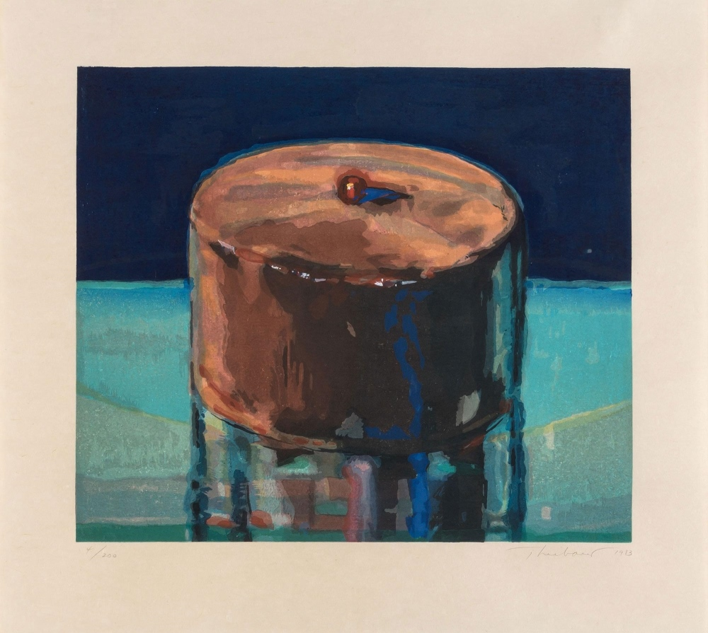 Wayne THIEBAUD (1920) Woodcut, Dark cake, 1983 – PNG – YLA