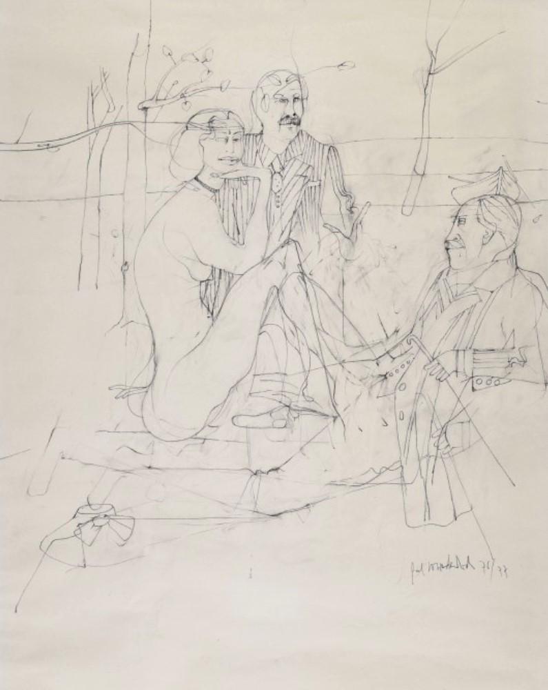 """Study for """"Déjeuner sur l'herbe"""" dated 1976-1977"""