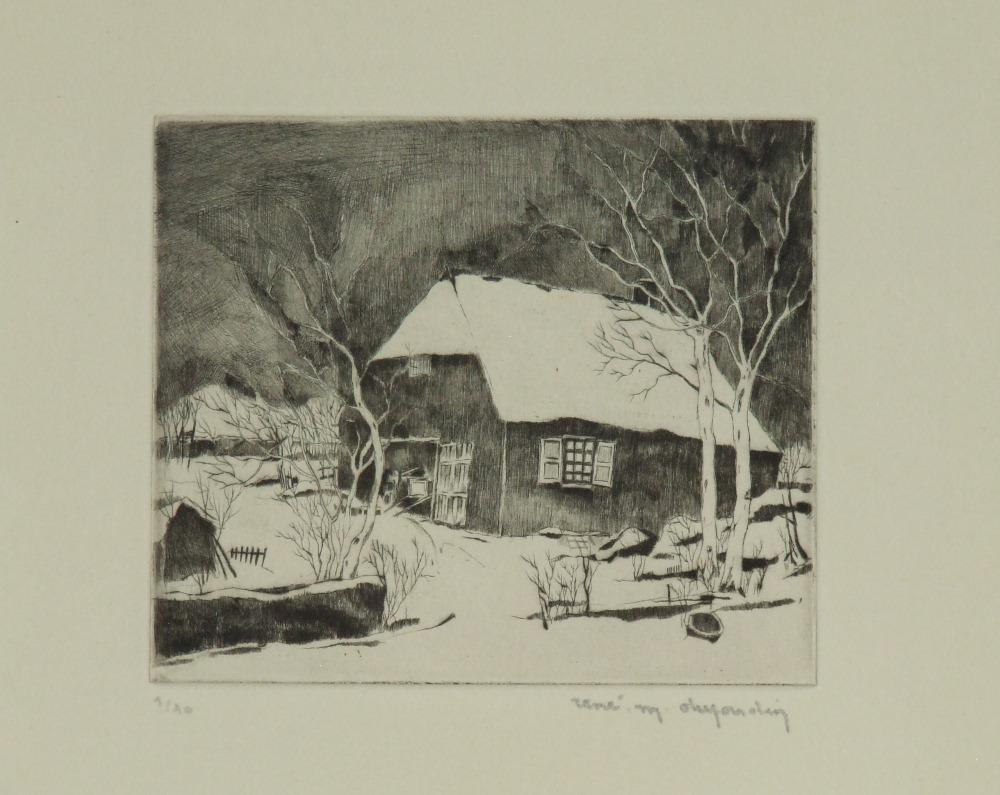 Flemish winter landscape with old farm, circa 1935-1939