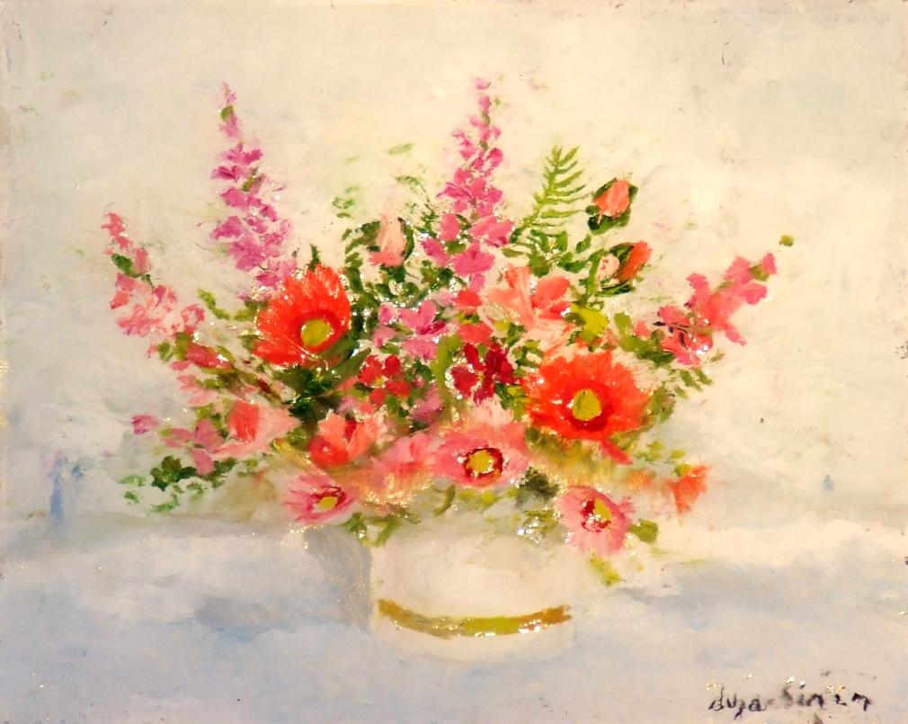Flowers in vase circa 1980