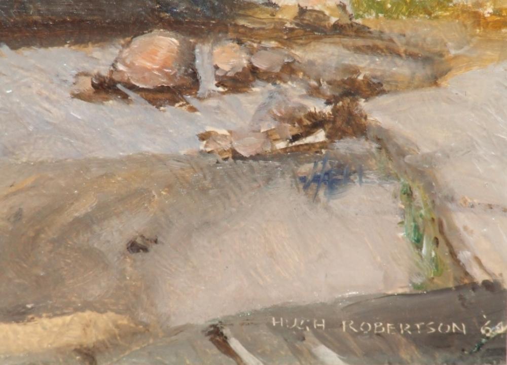 Hugh Douglas ROBERTSON (1900-1996) – Oil on panel – River side – the Georgian Bay, 1964 – Signature – YLA