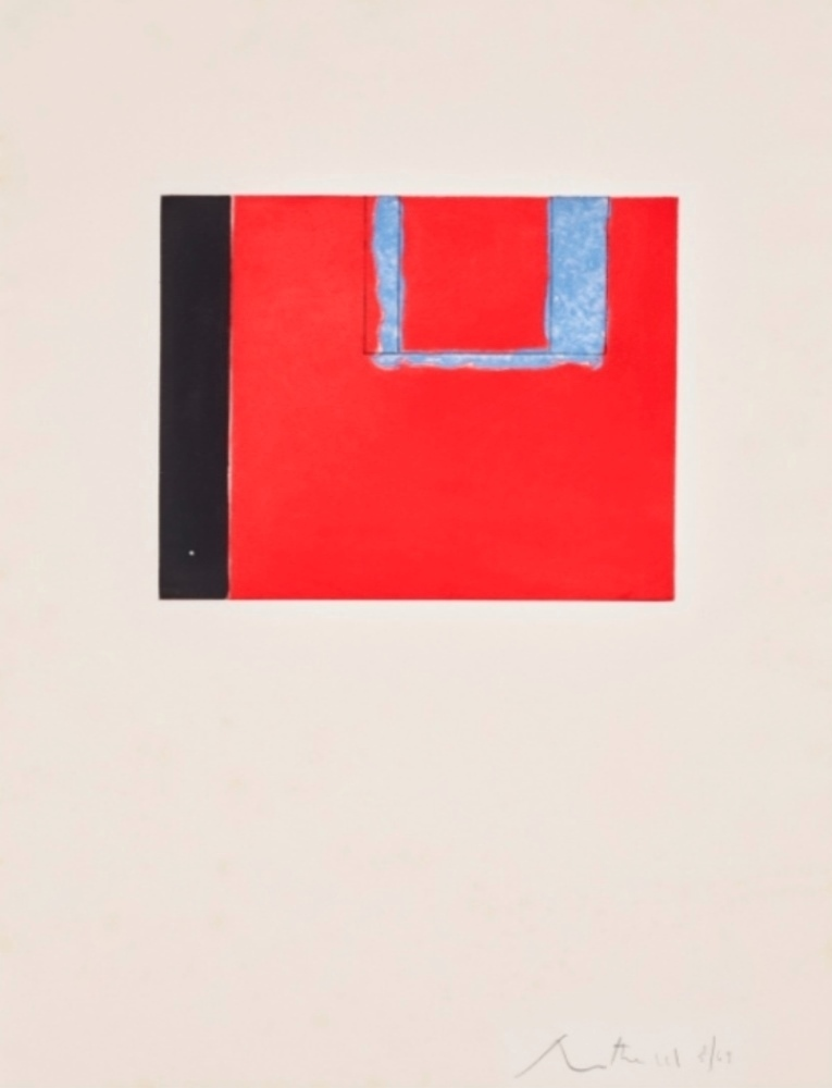 Untitled abstract or Red open with blue and black, 1975